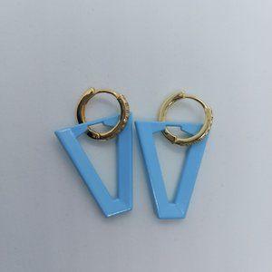 Fashion Triangle V Blue Sky and Gold Earrings